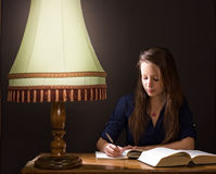 Studying at home late night. Stock Images