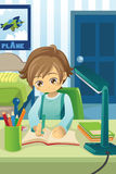Studying kid. A vector illustration of a kid studying and doing his homework in his bedroom Stock Photos
