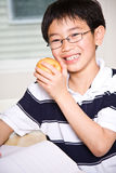 Studying kid eating apple. A shot of an asian kid studying and eating an apple at home Royalty Free Stock Photography