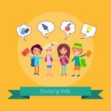 Studying Kids with Small Icons Illustration. Studying kids with small icons above and inscription vector illustration on light orange background. Joyful pupils royalty free illustration