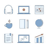 Studying, learning, distance and online education icons. Thin line set of elements. Vector Stock Photo