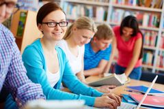 Studying in library Royalty Free Stock Photo