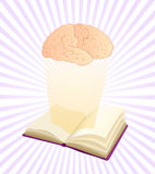 Studying makes smart. Illustration of open book with brain over it and beams background, clip art stating that education and knowledge is power Royalty Free Stock Photography