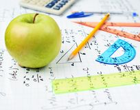 Studying math, back to school composition Royalty Free Stock Image