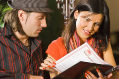 Studying of the menu royalty free stock image