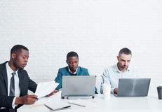 Studying newcomers in IT company. Coach training. Stock Image