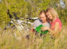 Studying outdoor stock image
