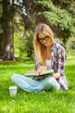 Studying outdoors. Royalty Free Stock Image