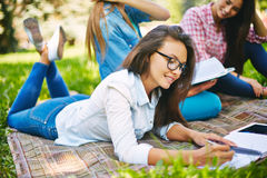 Studying outdoors Royalty Free Stock Image