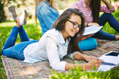 Studying outdoors Stock Photo