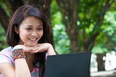 Studying in a park Royalty Free Stock Photos