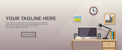 Studying place or working place illustration. Banner illustration. Flat design illustration concepts for working place at office, working place at home Stock Photo