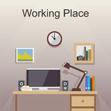 Studying place or working place illustration. Banner illustration. Flat design illustration concepts for working place at office, working place at home Stock Photos