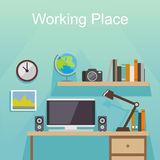 Studying place or working place illustration. Banner illustration. Flat design illustration concepts for working place at office, working place at home Royalty Free Stock Image