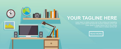 Studying place or working place illustration. Banner illustration. Flat design illustration concepts for working place at office, Stock Photo