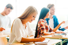 Studying with pleasure. Royalty Free Stock Photography