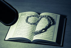 Quran. The Quran literally meaning the recitation), also transliterated Quran, Koran, Al-Coran, Coran, Kuran, and Al-Quran, is the central religious text of Stock Photography