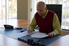 Studying report. Casual businessman studying sales report at his desk by window royalty free stock images