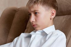 Studying sight of boy - teenager Royalty Free Stock Photography