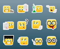 Studying smile stickers set Royalty Free Stock Images
