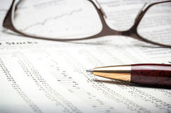Studying stock market investments Stock Image