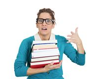 Studying stressed woman Royalty Free Stock Image