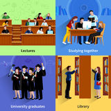 Studying Students 2x2 Design Concept. Students 2x2 flat color design concept with young people studying in library in auditorium and group of university Royalty Free Stock Image