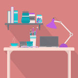 Studying table and bookshelf Royalty Free Stock Photos