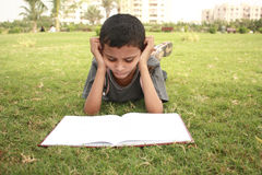 Studying. Teenage boy reading book in the garden Royalty Free Stock Photo