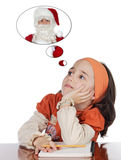 Studying thinking about santa Royalty Free Stock Image