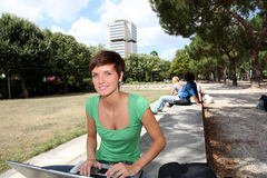 Studying in urban park Royalty Free Stock Photo