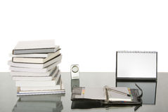 Studying or Working desk with. Arranging like that and the calendar was fill with blank sheet so you can put any text or picture there Royalty Free Stock Photography