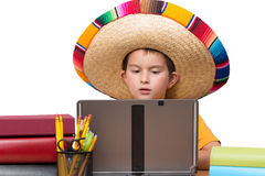 Studying Young Mexican Boy Royalty Free Stock Photo