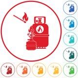 Stufa di campeggio con il vettore dell'icona della bottiglia di gas royalty illustrazione gratis