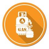 Stufa di campeggio con l'icona della bottiglia di gas Fotografie Stock Libere da Diritti
