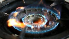 Stufa di gas con le fiamme del gas di combustione stock footage