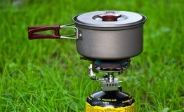 stufa di gas di campeggio Fotografia Stock