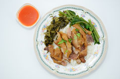 Stufato della gamba della carne di maiale sopra riso Immagini Stock Libere da Diritti