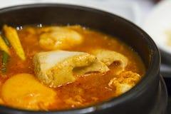 Stufato di kimchi del primo piano con cucina del Coreano del tofu Fotografie Stock