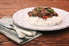 Stufato di manzo con riso bianco e salsa Immagini Stock Libere da Diritti