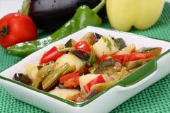 Stufato di verdure in ciotola bianca Fotografie Stock