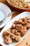 Stufato fresco della lenticchia con i weenies affettati Fotografia Stock