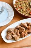 Stufato fresco della lenticchia con i weenies affettati Immagini Stock Libere da Diritti
