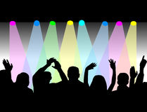 Stufe-Leuchten und Publikum Stockfotos