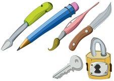 Stuff. Screw, pencil, brush, knife and padlock key Stock Photos