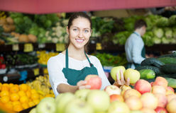 Stuff in apron selling apples Stock Photography