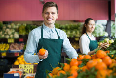 Stuff in apron selling sweet oranges, lemons and tangerines Stock Photography