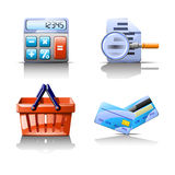 Stuff for buy. Cartoon illustration of set of different types of stuff which use to buy things Royalty Free Stock Photos