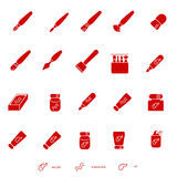 Stuff for painting as glyph  icons Stock Photo