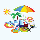 Stuff with palm and umbrella vector illustration Royalty Free Stock Images